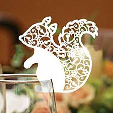 Laser Cut Table Numbers 50 Pack White Laser Cut Squirrel Wedding Table Number Name Place