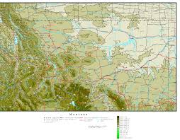 Montana Wyoming Map by Montana Elevation Map