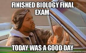 Memes About Final Exams - finished biology final exam today was a good day today was a good