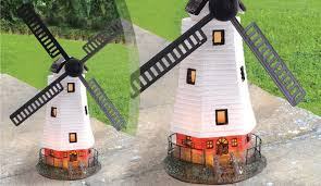 solar powered led windmill garden ornament