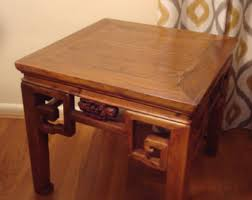 carved wood end table carved wood table etsy