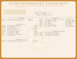 Example Of A Resume For A College Student by Elon Experiences Transcript