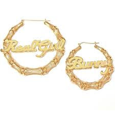 gold hoops earrings 24k gold plated large bamboo name hoop earrings be monogrammed