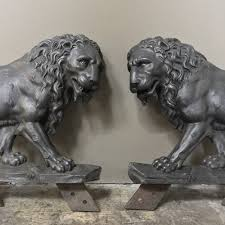 lion statues pair 19th century architectural cast iron lion statues inessa