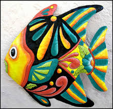 tropical fish metal art metal wall art tropical decor tropical