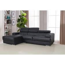 Black Leather Sectional Sofas Modern Black Sectionals Allmodern