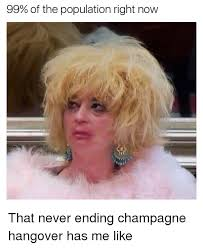 Hangover Meme - 99 of the population right now that never ending chagne hangover