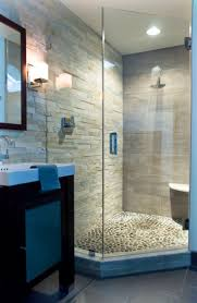 river rock in shower stone wall rock floor corner shower