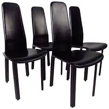 Leather Dining Room Furniture Set Of Italian Leather High Back Dining Chairs By Cidue For Sale