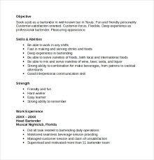Job Description Of A Bartender For Resume by Sample Bartender Resume Template 8 Download Free Documents In