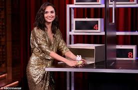 dress gal gal gadot plays box of lies with jimmy fallon daily mail online