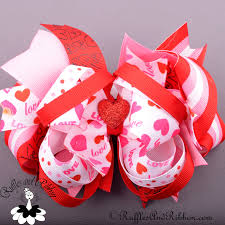 ribbon boutique ott large boutique hair bow valentines day in ruffles and