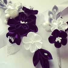 Corsage And Boutonniere Prices Corsage And Boutonniere Silver White U0026 Dark Purple Kanzashi