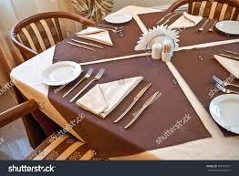 set table to dinner set table dinner beige brown stock photo 494331877 shutterstock