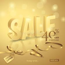vector luxury sale with 3d text ribbon small bow and tag