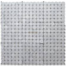 carrara white 2 inch octagon mosaic tile w gray dots polished