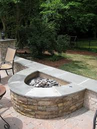 Diy Fire Pit Patio by Half Circle Stacked Stone Firepit Fireplaces And Firepits