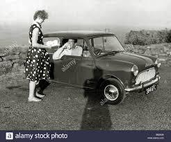 austin mini car pat chapman test driving a morris mini minor stock