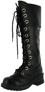 buy boots uae nana pole climber womens combat lace up knee boots heels black