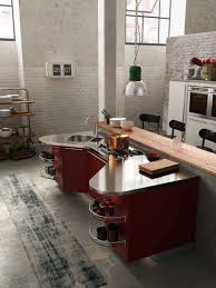 kitchen white exposed brick walls also red shapely kitchen island