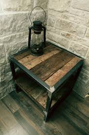 wood metal end table reclaimed wood table rustic pinterest wood table woods and