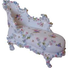 Floral Chaise Miniature Doll House Furniture Chaise Lounge Chair W Roses