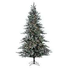 christmas tree 7 5 pre lit artificial christmas tree white flocked pine clear