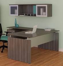 Grey Office Desks Medina Gray Steel Finished Office Desk With Hutch And File Pedestal