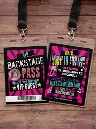 birthday invitation rock star vip pass backstage pass concert