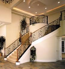 Wrought Iron Banister Rails Glamorous Straight Staircase With Landing Decor Combined Concrete