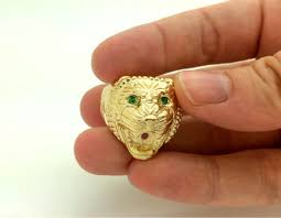 gold rings for men assyrian lion ring with ruby green tsavorite gold plated
