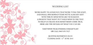 wedding gift lists gift list wording for wedding invitations paperinvite