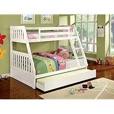 amazon com furniture of america garvey twin full bunk bed white