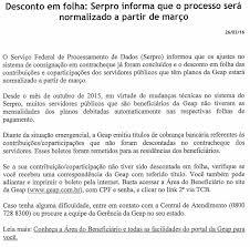 Desconto em folha do GEAP  SERPRO informa que o processo ser       Desconto em folha do GEAP  SERPRO informa que o processo ser   normalizado a partir de mar  o