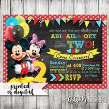 mickey and minnie joint birthday party invitation no shipping