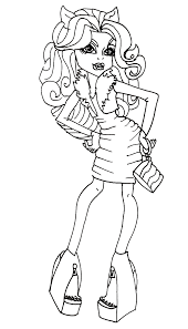 clawdeen wolf try new clothes coloring pages monster high