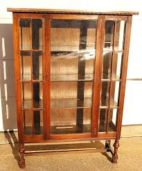 antique oak bookcase with glass doors curio cabinet pid 3075 amish mission double door curio cabinet