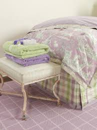 lavender toile bedding a green and lavender gingham dust ruffle