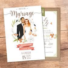 faire part mariage avec photo faire part de mariage original invitation sur mesure dessin d