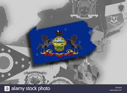 State Of Pennsylvania Map by Illustration Of The State Of Pennsylvania Silhouette Map And Flag
