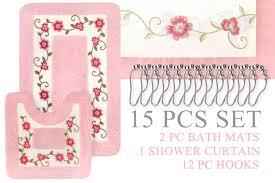 super soft floral bath mat 15pc set shower curtain hooks