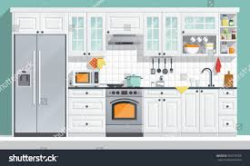 Indoor Kitchen Kitchen Appliances Flat Room Vector Illustration Stock Vector