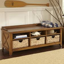 fascinating rustic entryway bench with open shelves plus rattan