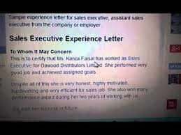 Work Certification Letter Sle To Whom It May Concern Experience Letter For Sales Executive Youtube