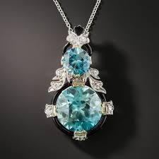 zircon blue necklace images Art deco blue zircon diamond pendant necklace jpg