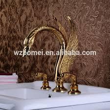 Swan Faucet Gold High Quality 3pcs Gold Color Animal Shape Swan Shape 3 Holes