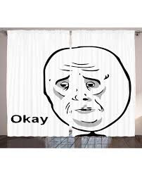 Ok Guy Meme - curtain okay guy internet meme print 2 panel window drapes