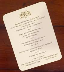 Sample Of Wedding Program Dinner Menus And Programs Maureen H Hall Stationery And Invitations