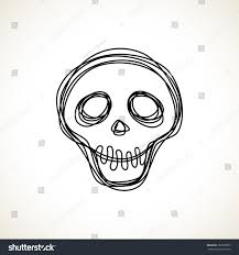 halloween web template vector skull doodle hand drawn logo stock vector 329550203