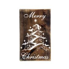 merry christmas horse christmas tree design wood sign primitive